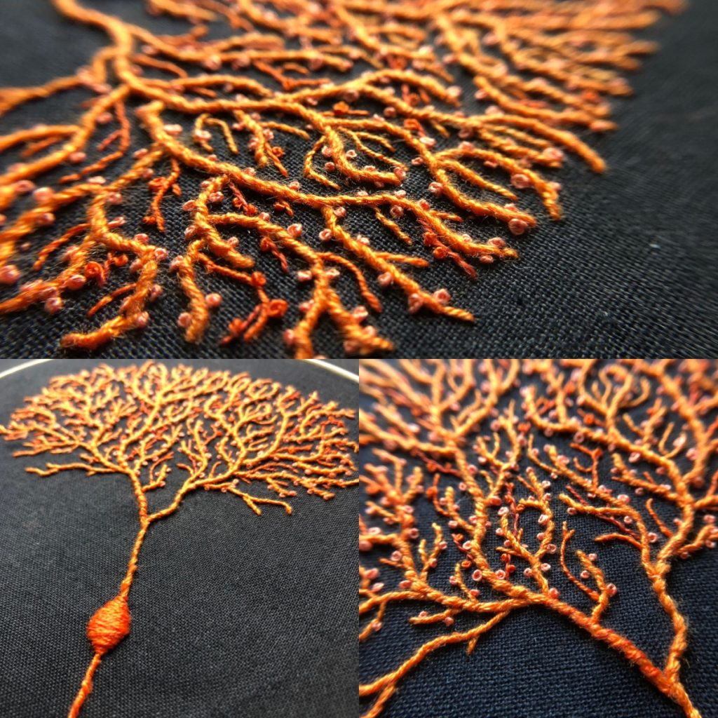 Collage of close-up images of the orange Purkinje cell, which looks like a tree with many delicate branches.