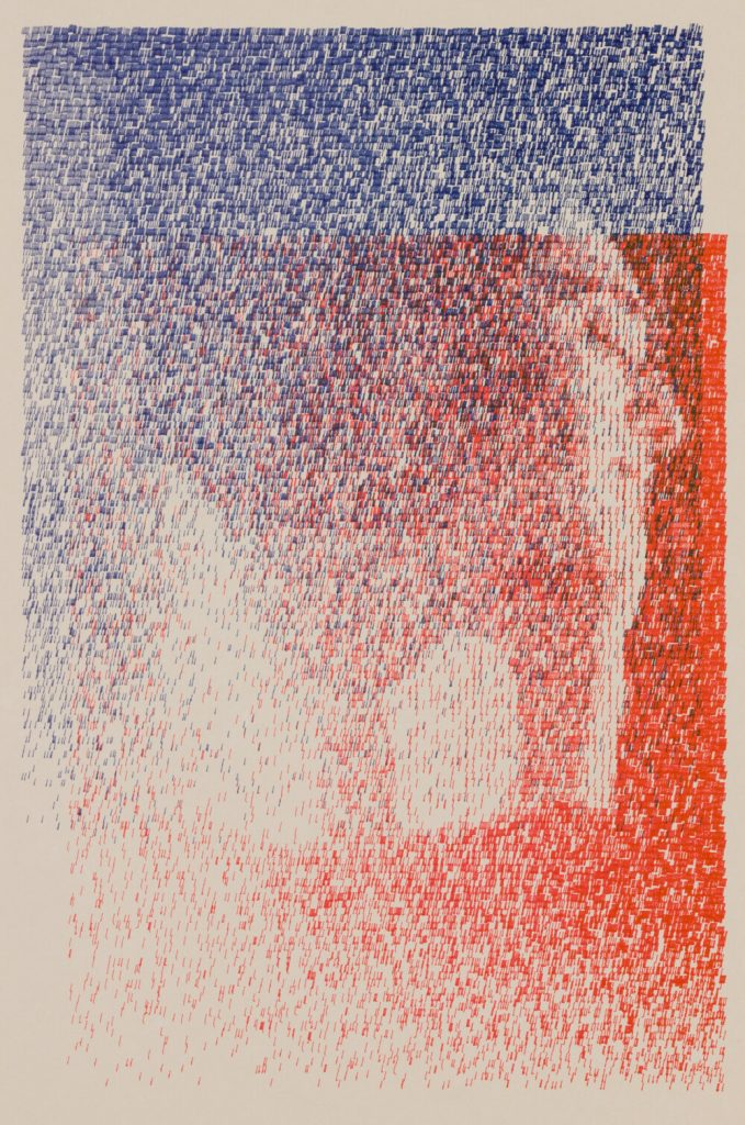 Profile of a person embedded in a blue and red somewhat pixelated overlay
