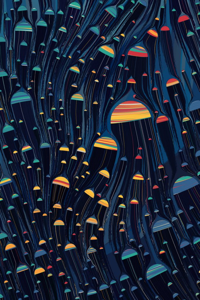 Hemispheres of different shapes and striped colors with blue dripping off them. They almost look like umbrellas in a heavy rain.