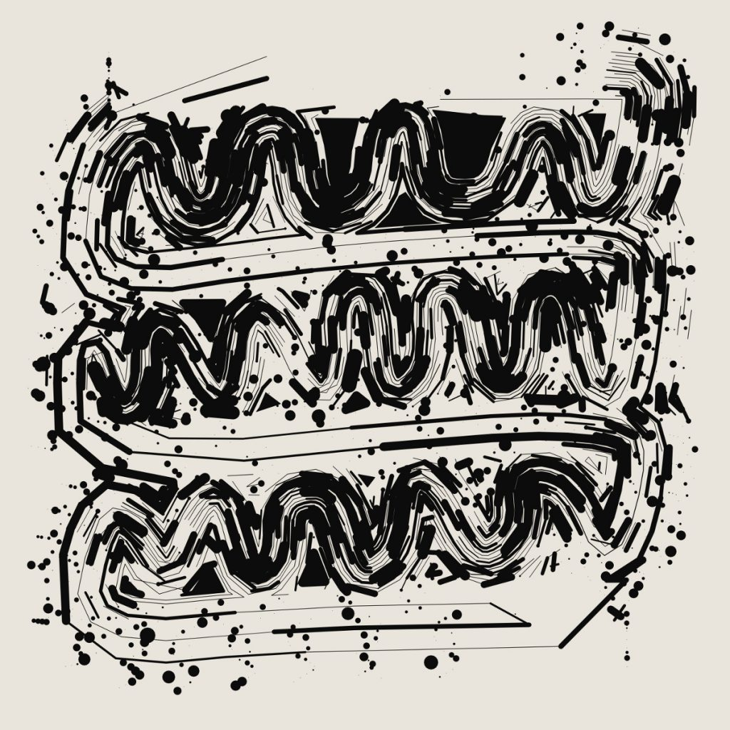 Stacked black squiggling lines that look like thick brushstrokes with ink splatters around them.