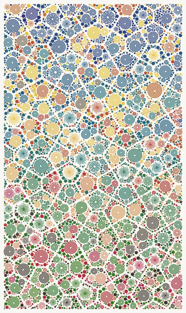 Small circles, swirls, and other round geometric shapes of different primary colors arranged in irregeular pentagons amidst the white space.