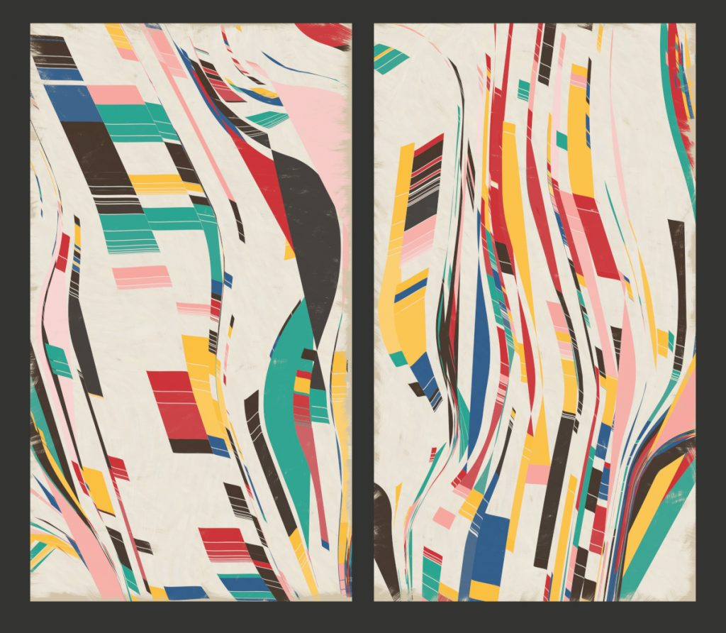 Two images standing vertically next to one another. They contain vertical wavy blocks and stripes of color.