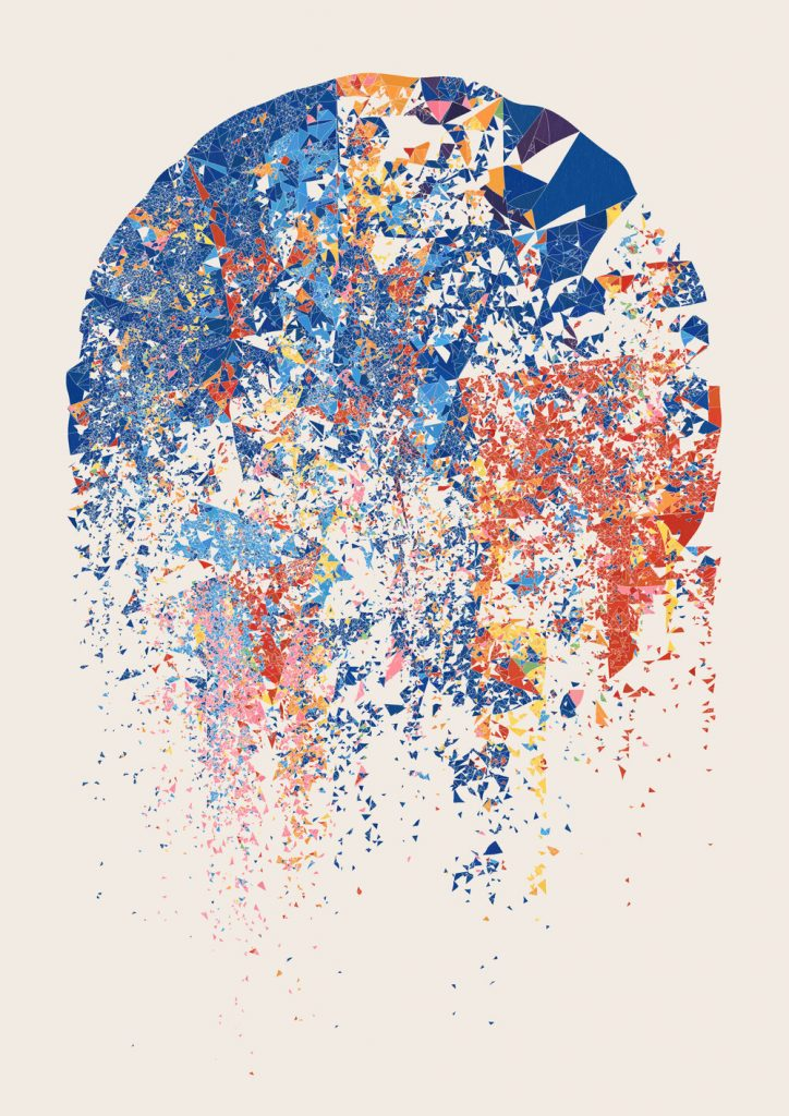 Art that looks like a dripping paint splatter made of geometric triangular shapes of red, orange, pink and blue.