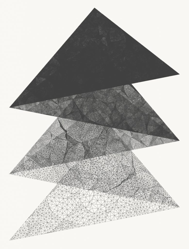 Five stacked triangles progressing from almost completely black to containing geometric patterns with more white space from top to bottom.