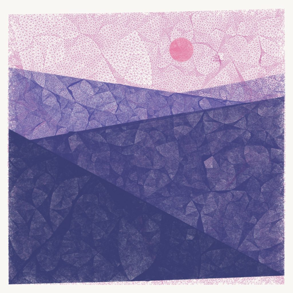 Geometric image that looks like a valley with purple mountains, a pink sky, and a pink sun.