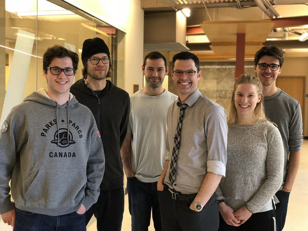Artist Owen Fernley and several members of Dr. Kevin Mumford's research group
