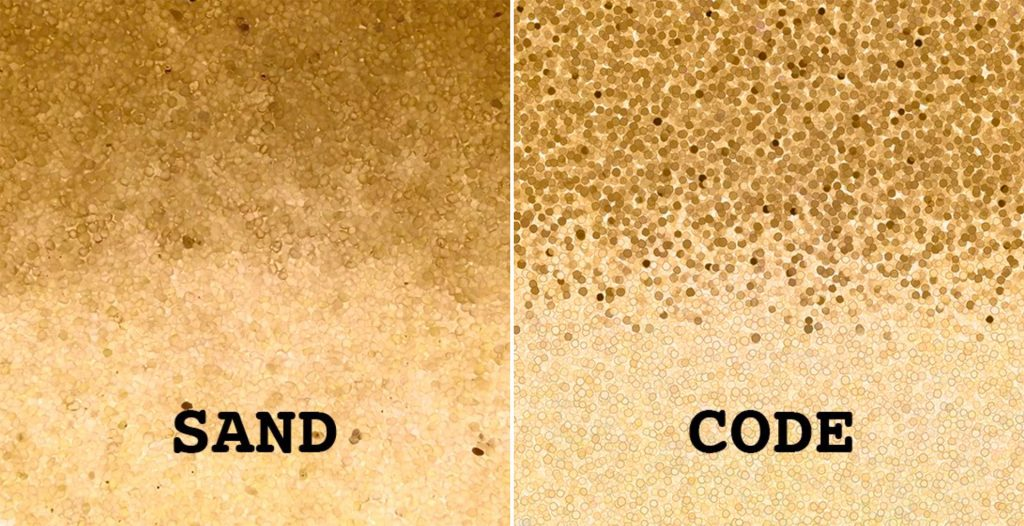 Comparison of sand in experiments on left versus Fernley's coded digital representation on right