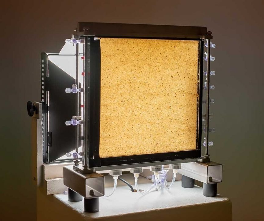 Sand column used in Cole Van De Ven's experiments. Thin layer of sand pressed between two glass plates