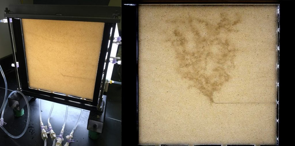 Sand column used in Van De Ven's experiments on left. Image of branching pattern from gas in the sand column on right.