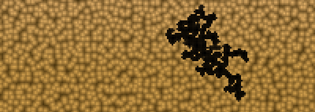 Screenshot of dark contamination pattern following invadable spaces. View of squares and no sand grains.