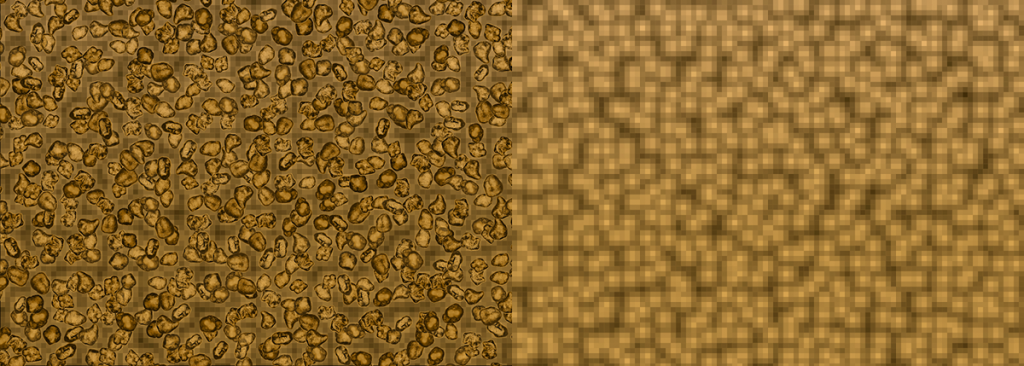 Screenshot of digital sand grains overlaid on spaces on left. Same image on right but with sand grains removed to show pathways between the sand.
