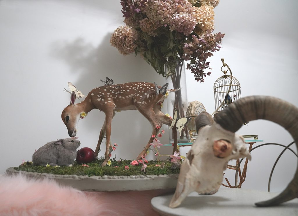 Scenery with white-tailed deer fawn with gray rabbit surrounded by butterflies.