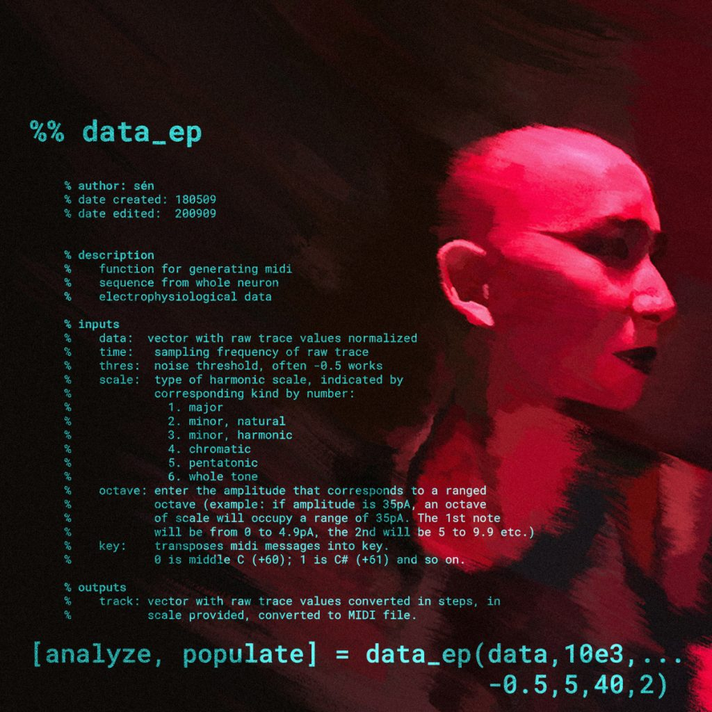 Cover art for data_ep. List of songs on the left and side shot of Simón(e) on the right.