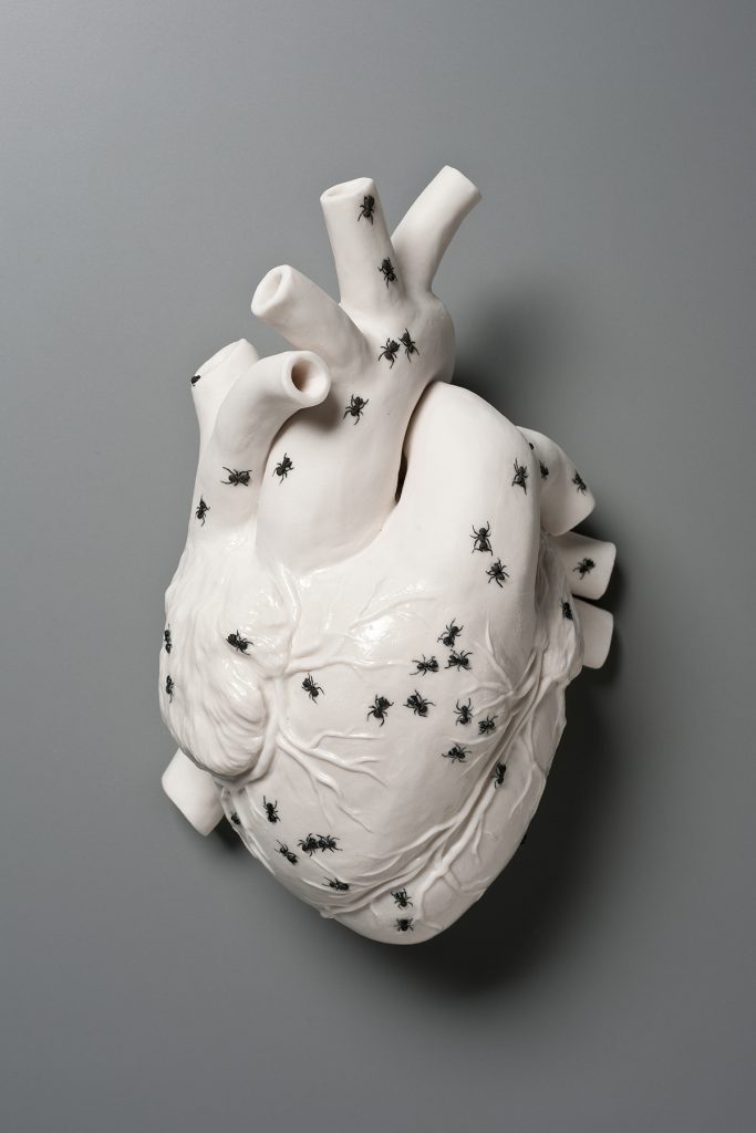 Human heart covered in black ants