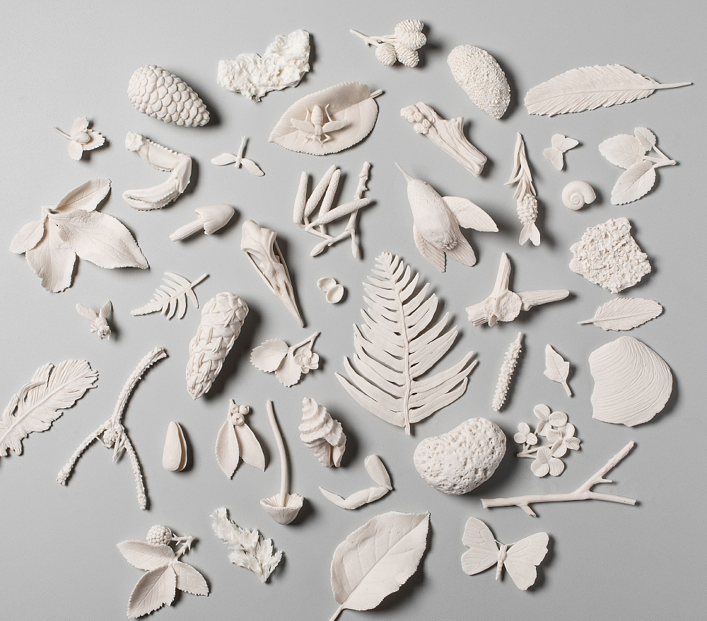 array of small sculptures, including birds, bugs, shells, pinecones, leaves, sticks, feathers, and more