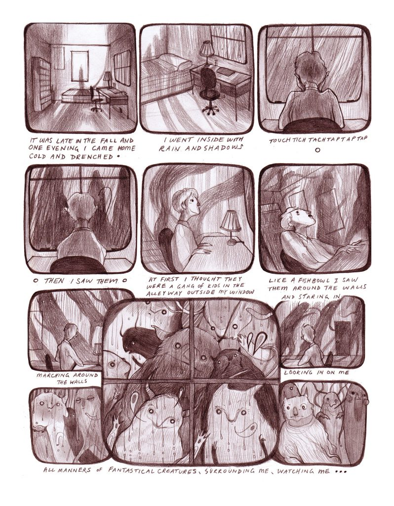 A room with a view (2014) by Sarah Crawley. A comic style representation of seeing fantastical creatures with a theme- A room with a view.