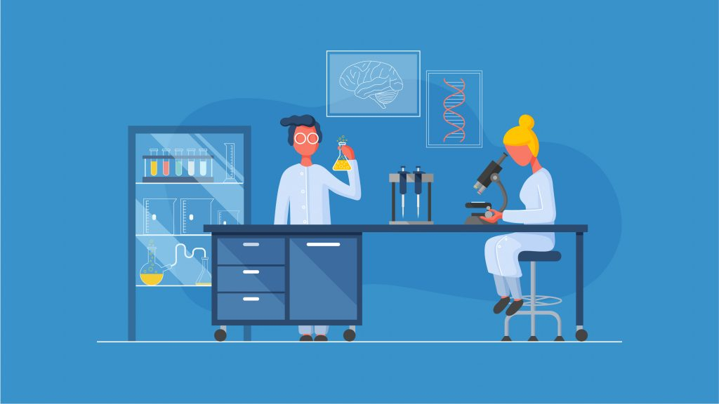 Animation 2D By Avesta Rastan. the images shows two people working in a bio lab.