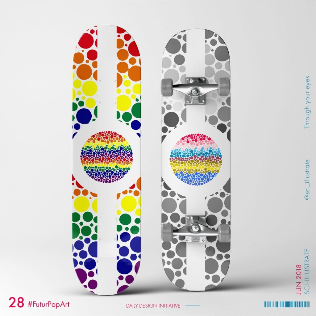 Futurpopart (2018) by Dr Radhika Patnala. Colorful circles made on a skateboard with a theme- Through your eyes.