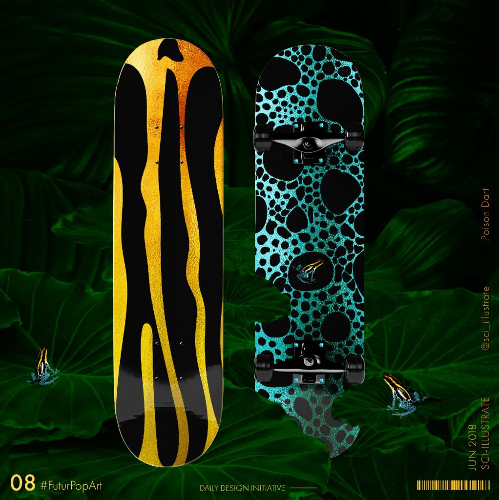 Futurpopart (2018) by Dr. Radhika Patnala. A image on poison dart on a skateboard.