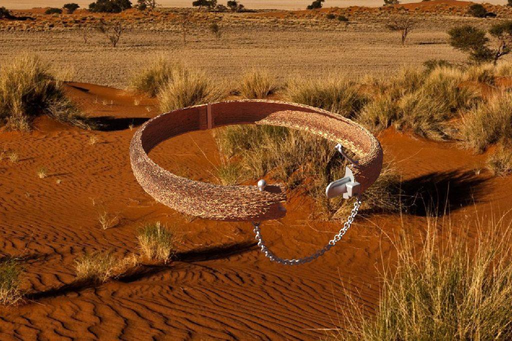 A belt-like object floating above a grassland scene.
