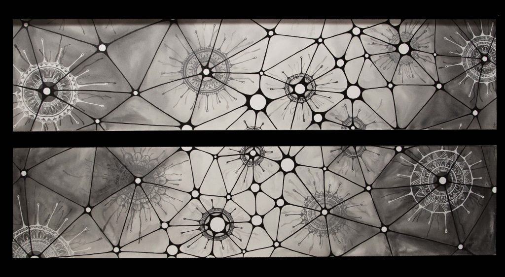 Painting Neuronal by Avesta Rastan. A painting of neurons in shades of black, grey and white.