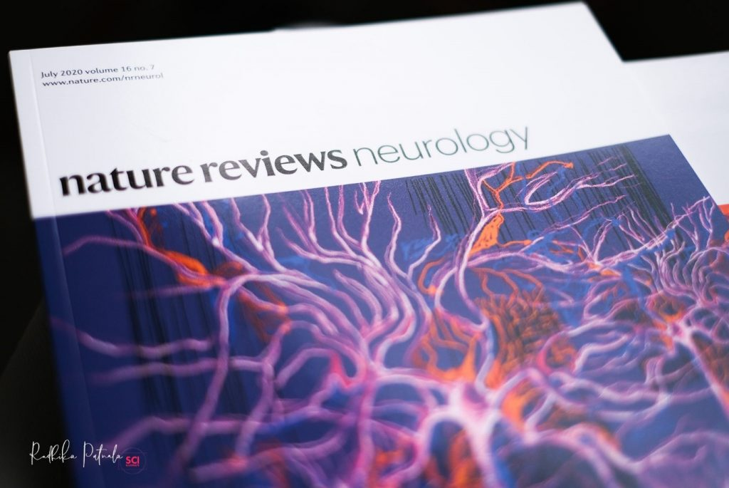 The Guardians – Featured on Nature Reviews Neurology (2020) by Dr Radhika Patnala. A image of neurons used as the journal cover page.