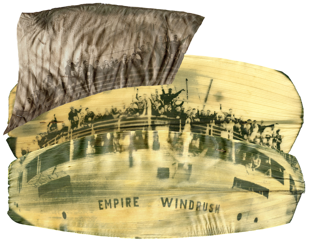 """A green and yellow image of people looking out over the railing of a boat called """"EMPIRE WINDRUSH"""" printed on a large leaf."""