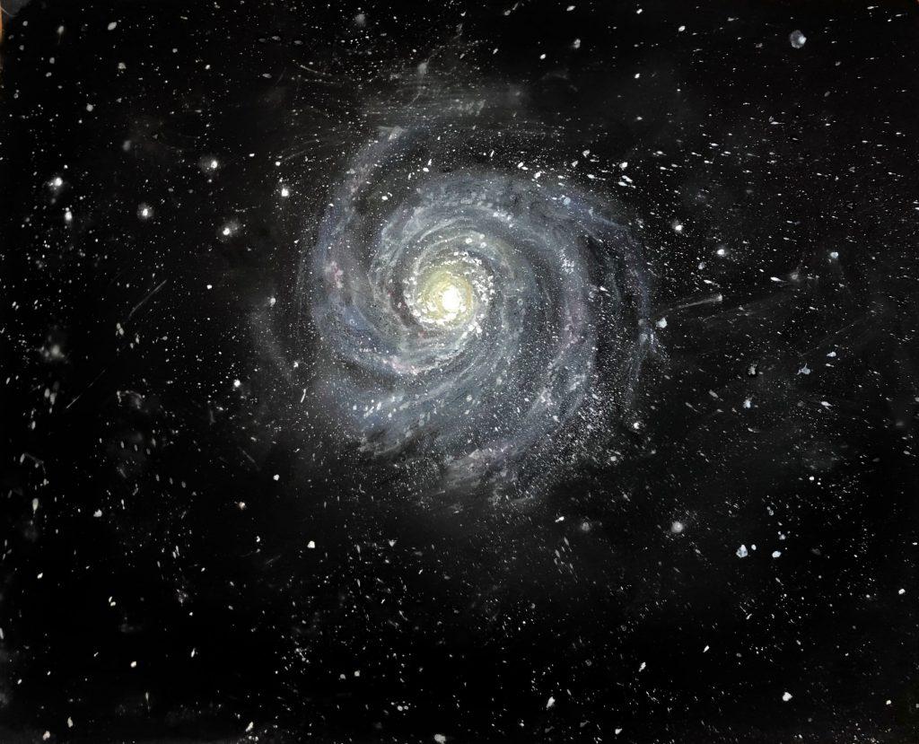 Pinwheel galaxy pastel drawing. Black ground with white pinwheel.
