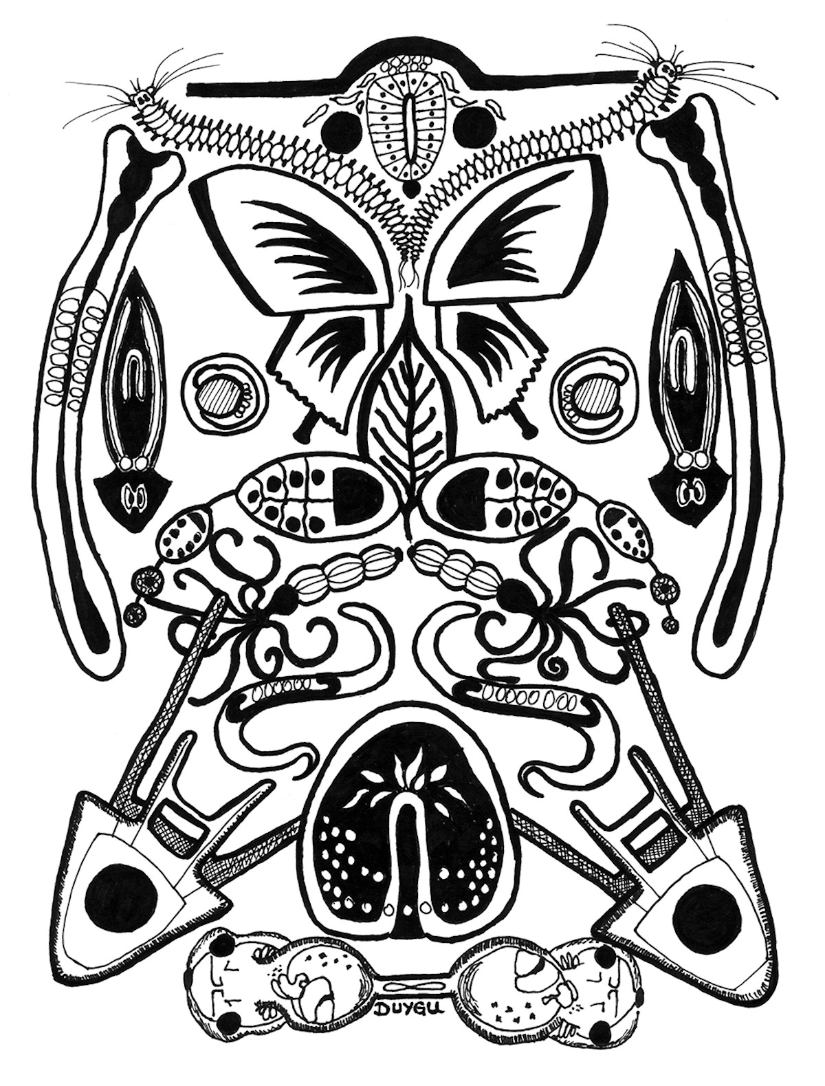 Black and white illustration of various embryos and invertebrates arranged to reflect across vertical axis to form a rectangle-like shape
