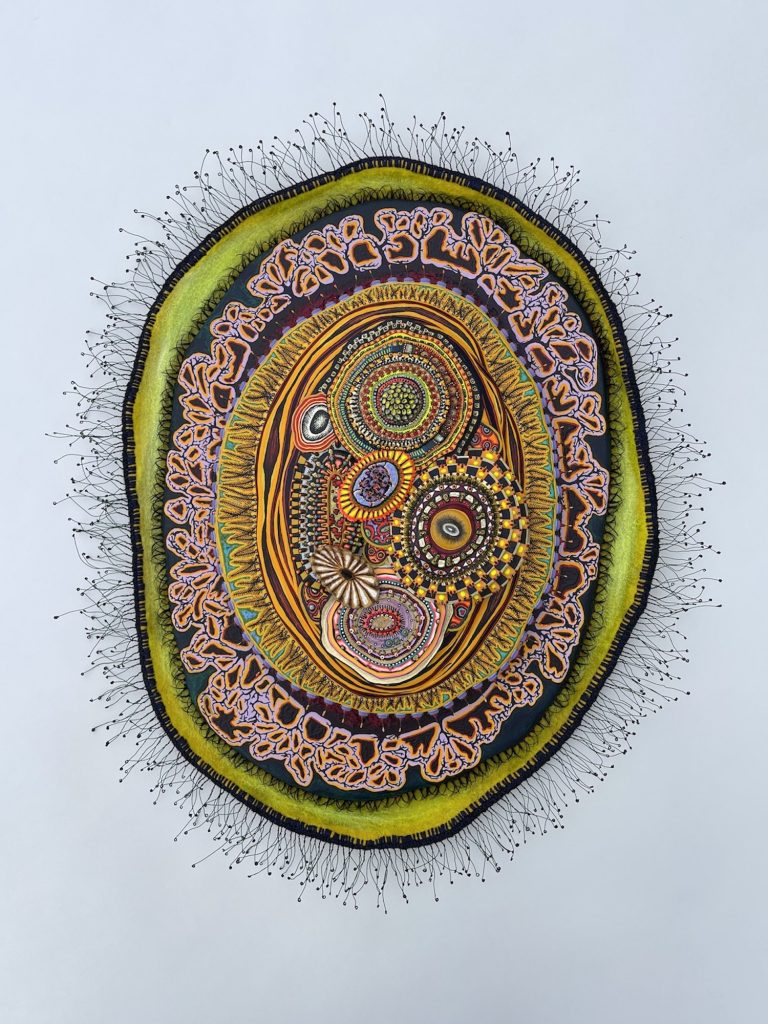 A Small Swath (2021) by Amie Esslinger. A single large oval cellular body, consisting of membranous layers and smaller ovoid shapes resembling organelles. The outer edge of the cellular body has hair-like threads extending outward all along the perimeter. Going inwards, the first membranous layer is green-yellow, followed by a patterned layer of pink, orange, black and dark blue - it also has shorter lash-like threads extending outward. The next layer is composed of multiple thick yellow cilia-like shapes, also extending outward, on a bed of bright green. Layered oval shapes build up towards the centre where multiple organelle-like oval shapes are arranged. Each are patterned and coloured differently.