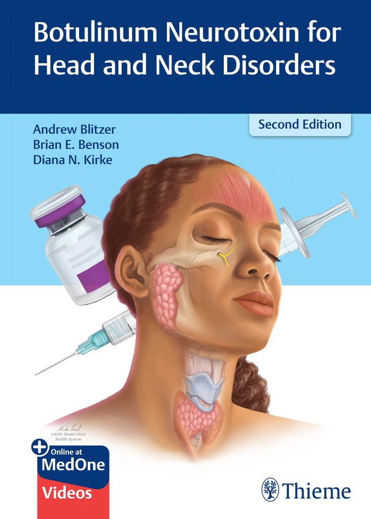 """Cover of the textbook """"Botulinum Neurotoxin for Head and Neck Disorders, Second Edition."""" The cover shows an illustration of a woman from the neck up, with some translucent areas of her head and neck revealing the muscles, bones, and other tissue beneath the skin. Behind her are illustrations of a syringe and bottle."""