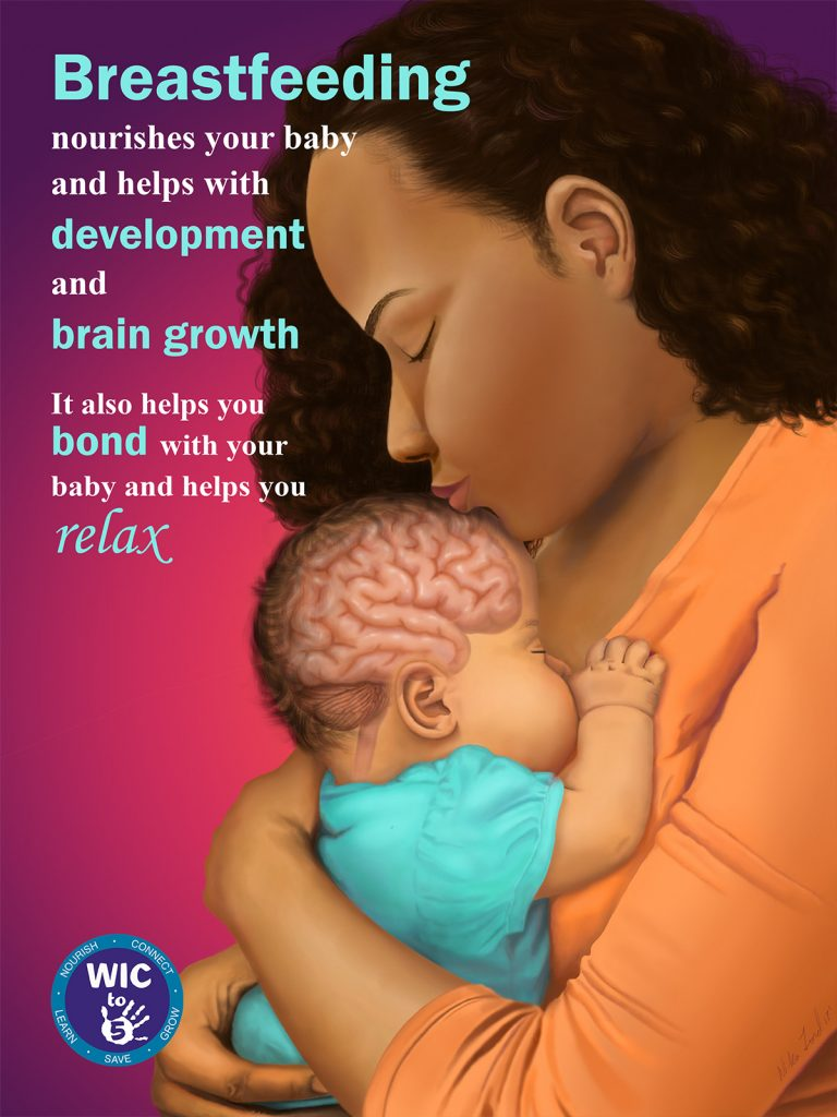 """Illustration of a woman holding her newborn baby to her chest, kissing its forehead. The baby's head is translucent to show it's developing brain. Text reads """"Breastfeeding nourishes your baby and helps with development and brain growth. It also helps you bond with your baby and helps you relax."""""""