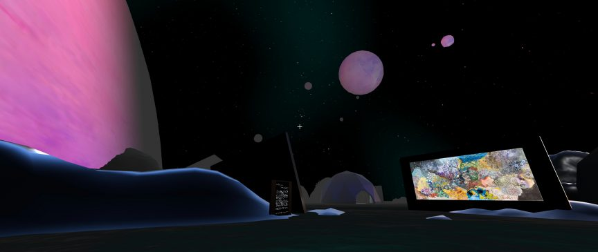 A colourful painting sits in the distance in the middle of a dark landscape. The sky is dark and has pink planets floating overhead.