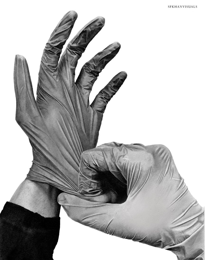 Black and white illustration of a pair of hands putting on latex gloves