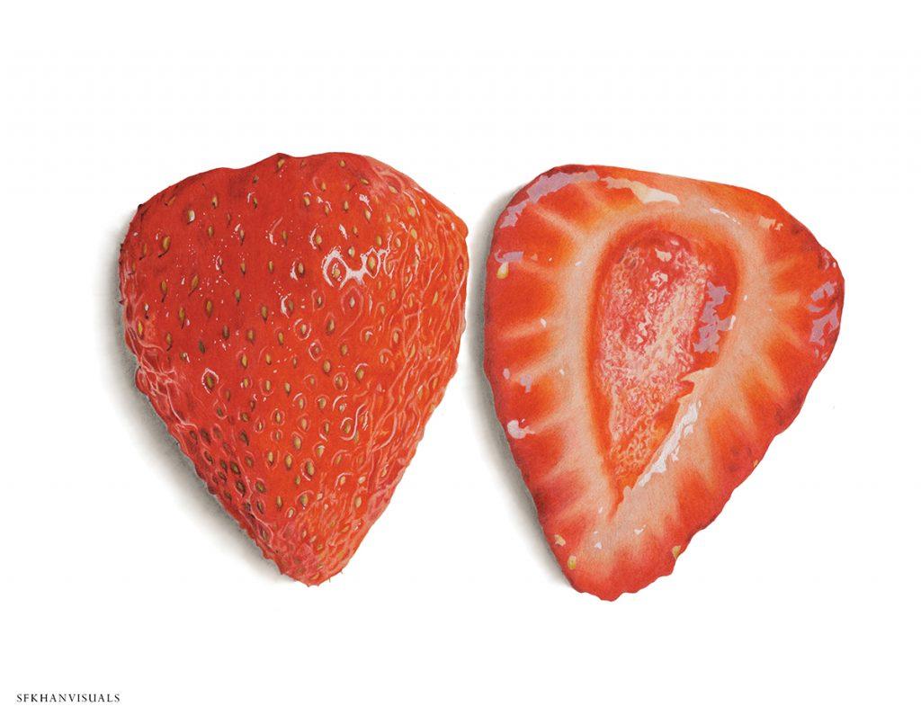 Hyperrealistic illustration of a strawberry cut in half
