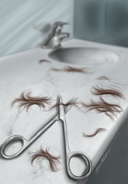 Illustration of bathroom sink and counter covered in short hair and a pair of scissors