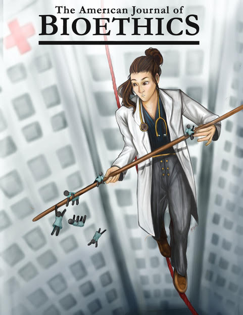 """Mockup of the journal """"The American Journal of Bioethics,"""" featuring a woman doctor on a tightrope between tall buildings. She is holding onto a rod for balancing, with small-scale patients clinging onto the rod."""