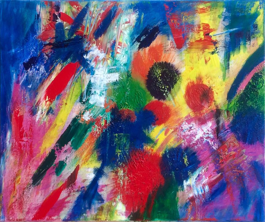 Brushstrokes and different shapes, like circles and abstract shapes, of different colors overlapping. They are in bold blue, red, pink, yellow, orange, and green.