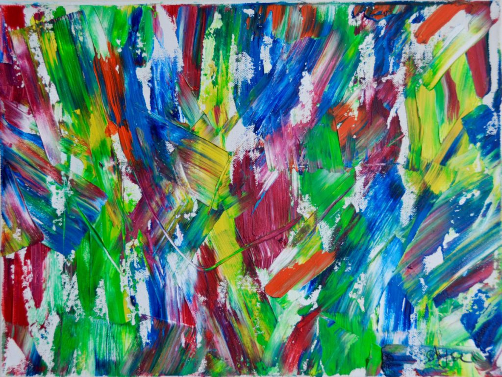 Brushstrokes of bold green, yellow, blue, and dark red.