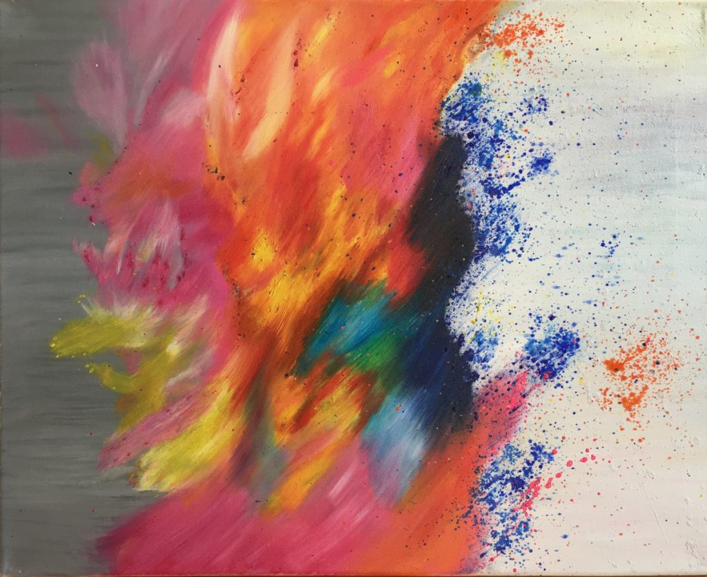 A splash of colors, mostly reds, oranges, and yellows, run vertically through the center and almost look like a flame.