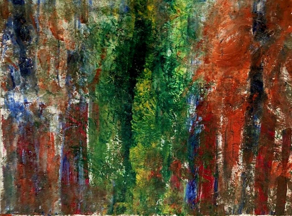 Streaks of dark green, orange, blue, and red run vertically across the canvas. It looks like the oils have been sponged on, leaving a splotchy texture.