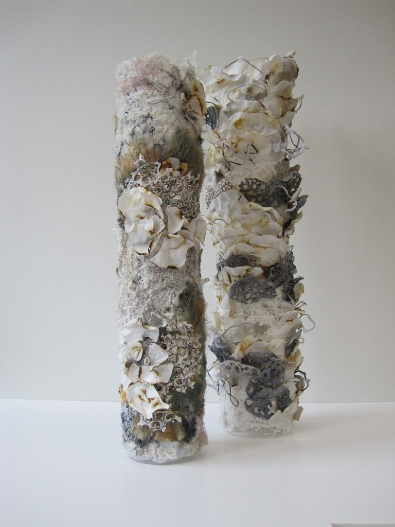 Two cylinders that look like tree trunks covered in layers of thin lichen and mushrooms