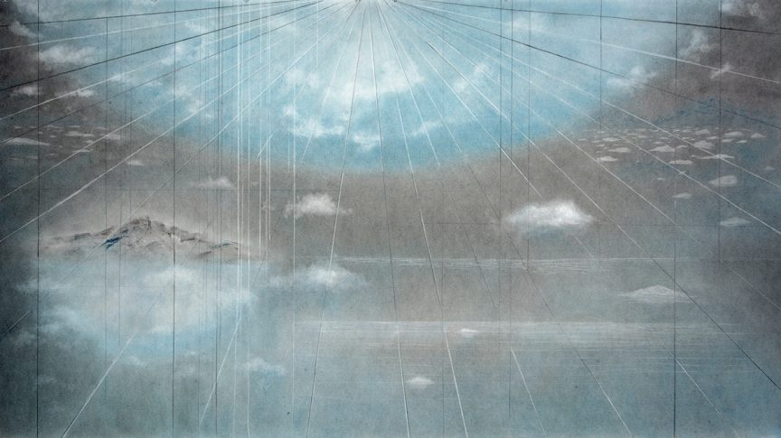 Current (2020) by Holly Fay. Gray and blue sky with clouds over an ocean with rays of sunlight shining down.