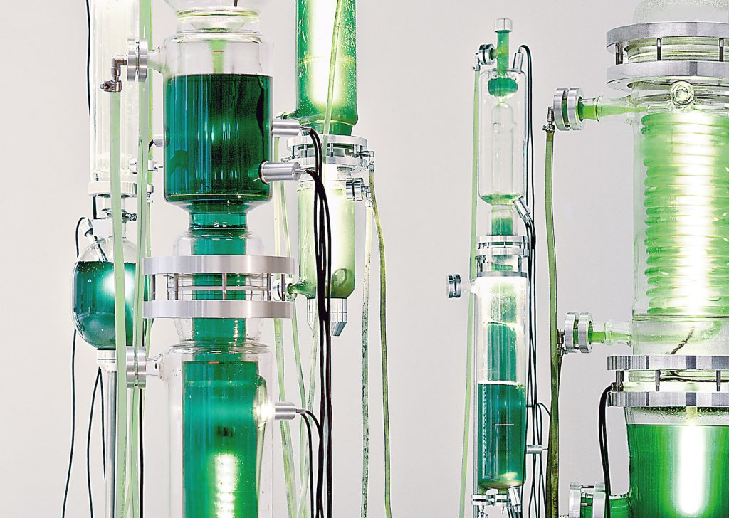 Stacked chemistry-like glassware, connected with tubes, containing different shades of bright green liquid.