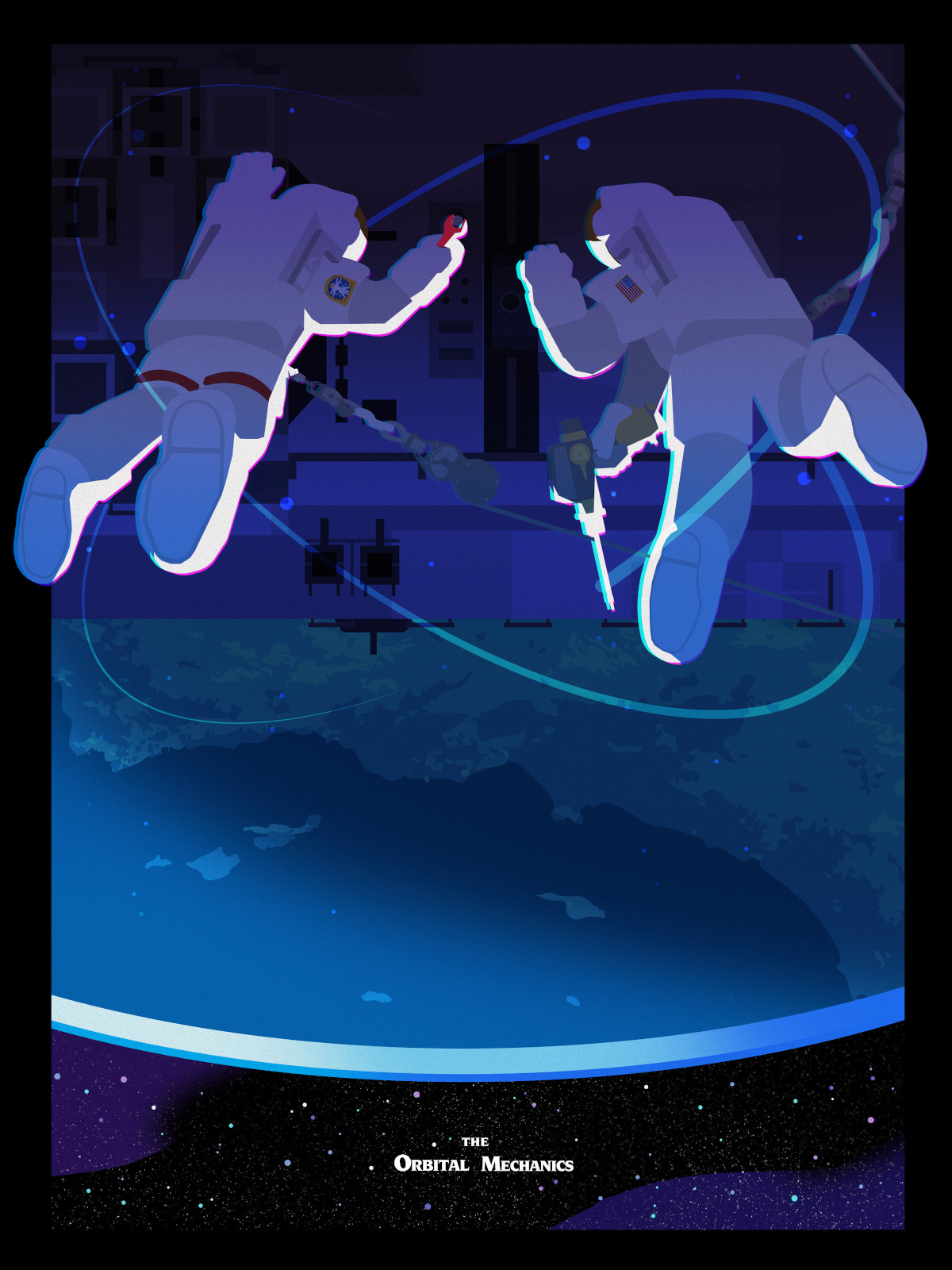 """Two astronauts in space suits float far above a planet. They are attached to a space station. Text at the bottom reads """"The Orbital Mechanics""""."""