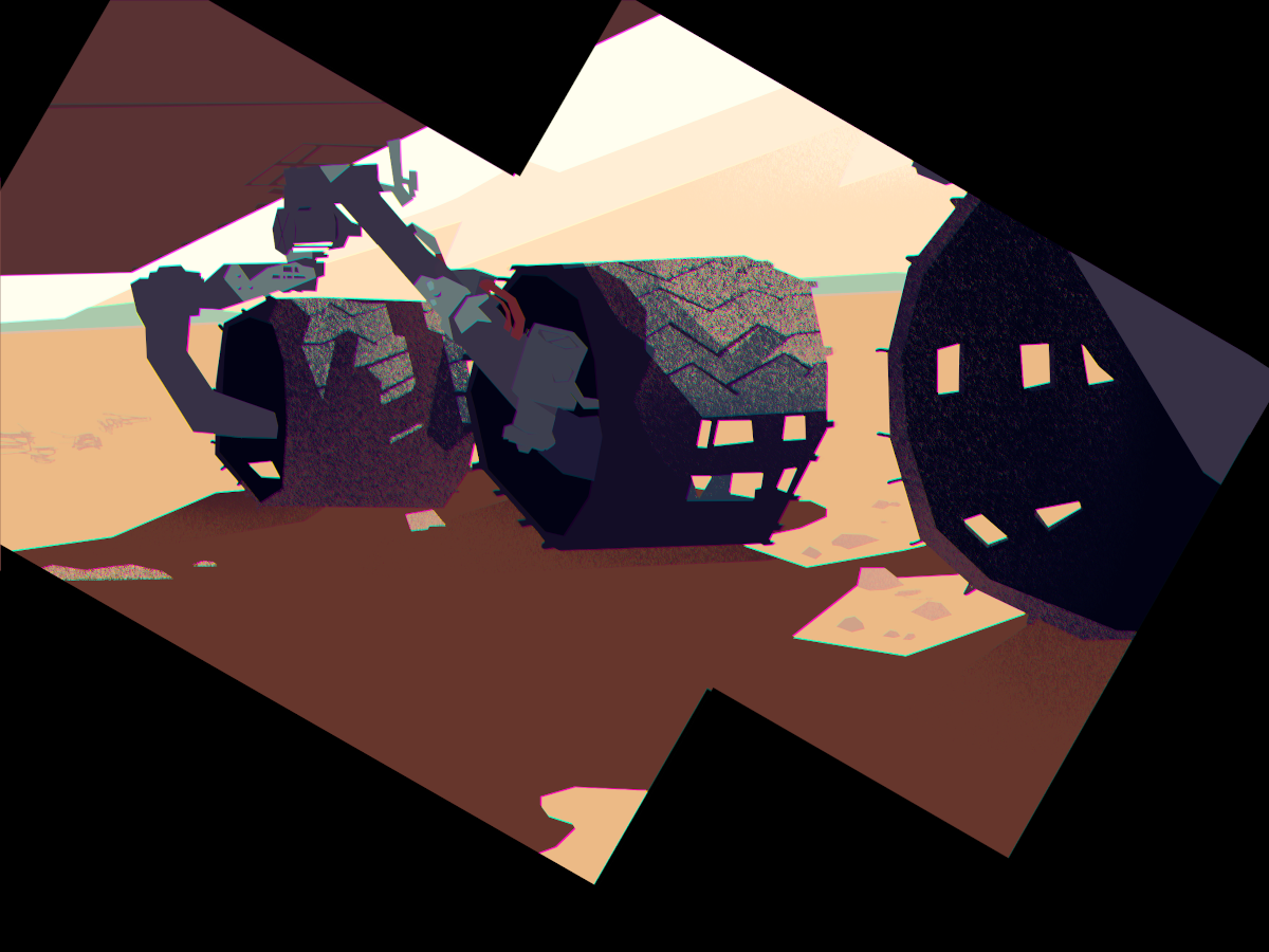 Three wheels with mechanical attachments sit on desert-like landscape.