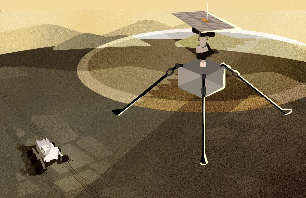 A mechanical structure with three legs floats above a smaller robot.