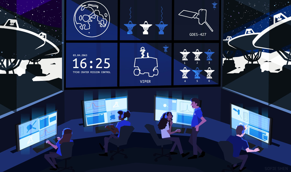 """Five people sit at large glowing computer monitors. Above them is a collection of six screens, the bottom left reads """"Tycho Crater Mission Control"""". Out the windows on either side of the screen, we can see the night sky and a series of large satellite dishes."""