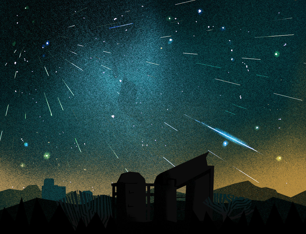 A night sky full of a meteor shower. The streaks of light fly above the silhouettes of buildings and hills.