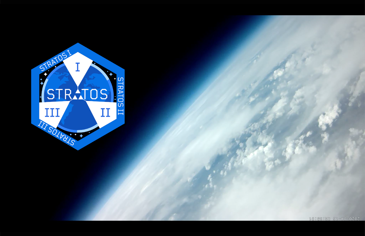 """A photograph taken from space of cloud cover over the earth's surface. An illustrated graphic on the right of the image is a blue and white hexagon with """"Stratos I, II, and III"""" written on it."""